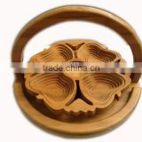 Chinese Craft Spiral Cut lotus Flower Bamboo Wood Collapsible Fruit Food Basket