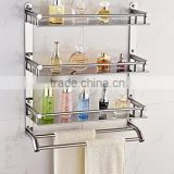 stainless steel bathroom shelves cosmetics shelves multi-function double hook racks towel racks(B-0277)
