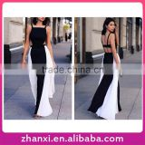 Wholesale sexy classy black and white stitching strap trimmed party dress