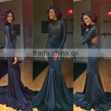 Mermaid Floor Length Custom Made Design Evening Party Wear Robe De Soiree ED294 long sleeve black evening dress