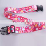 Hot sale colorful pink printing travel luggage belt, luggage strap