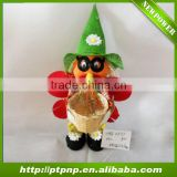 Harvest scarecrow with bamboo pot for autumn decoration
