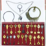 hot sale Fairy Tail badge alloy jewelry necklace 12 constellation sign 22 pieces key buckle