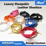 Ebay Best Selling Leather Laces - Flat Aglets Italian Premium Sheepskin Leather Shoelaces Manufacturer - Accept Custom