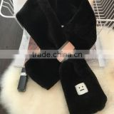 2017 factory wholesale New Winter Fashion Lady Plain Plush Faux Rabbit Fur Scarf from China
