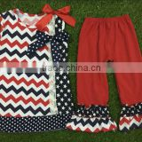 Summer latest dress pattern 2016 fourth of July girls outfits online boutique wholesale cotton frock suit design chevron dress