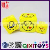 Creative plush toys various emoticon custom printed dice funny foam cube with emoji pattern for kids