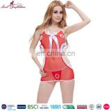 factory outlet sex nurse costume dress and panty babydoll set red mature sexy women lingerie for erotic pictures