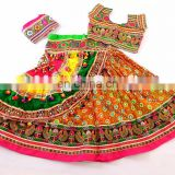 Sanedo Garba Chaniya Choli with Kachchhi Work- Multi Colour Leheriya Sanedo Navratri Chaniya Choli