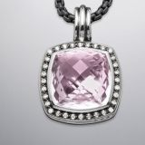 Sterling Silver Designs Inspired DY 17mm Lavender Amethyst Moonlight Ice Pendant Enhancer
