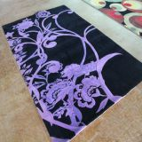 Black And Purple Floral Cut Pile Area Rug Carpet Wool Guangzhou Carpet