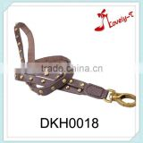 Long leather key chain rope customized rivets leather custom key chain,neck hanging leather key chain