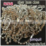 2015 new deals 10yards/lot ss6 new fashion clear crystal jonquil copper rhinestone chains