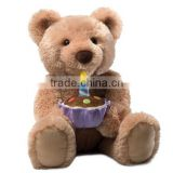 40cm Sitting High Plush Teddy Sound Toy/Stuffed Bear with Soft Music Happy Brithday/Musical Toy Stuffed Bear Operated by Battery