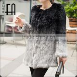 Factory direct wholesale price long dip-dye rabbit knit fur overcoat