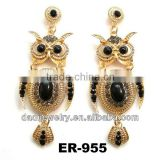 Fashion Europe Rhinestone long Chandelier owl Earring Jewelry