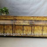 Chinese antique furniture pine wood light yellow color Shanxi three drawer six door TV cabinet