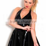 faux leather pvc western gowns party dresses sexy leather dress women