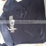 customized navy blue Fleece hoodie with printed drawstrings