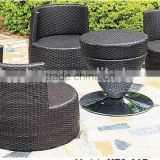 Water Proof Outdoor Rattan Stackable Furniture Bullet Chair Set