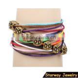 >>hot selling cute promotional colorful multi strands cord owl bracelet/