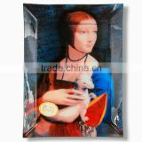"CARMANI Glass Plate 20x28 cm ""The Lady with an Ermine"" design LEONARDO DA VINCI"
