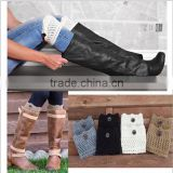New Arrival Europe&American knitted Leg Warmers Hollow Piles Womens Leg Warmers With Buttons