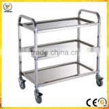 3 three layer stainless steel liquor trolley Detachable dining car Bowl car with four wheel for hospital hotel restaurant public