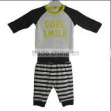 undefined newest design little boys clothes kids long cotton print tee shirt with stripe pants sets baby outfits baby clothes