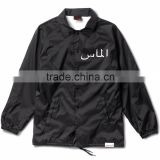 custom latest coach jacket black simple printing logo