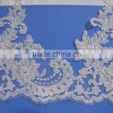 embroidery beads trimming lace / 2016 New Style White Pearls Beaded Trim for Wedding Dress/guipure trim/tulle broderie