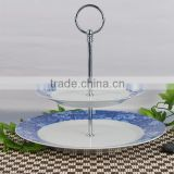 wedding party 2 tier round shape cake stand/beautiful porcelain serverware / white dessert plate