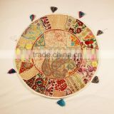 White Beige Round Cushions Indian Meditation Floor Pillows Decorative Table cloth and Mats