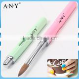 ANY New Colorful Nail Care Design Pink Acrylic Kolinsky Nail Brush Plastic Handle