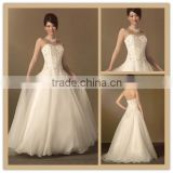 (MY2450) MARRY YOU Alibaba A-line Sweetheart Heavy Beading Bodice Organza Skirt Wedding Dress 2016