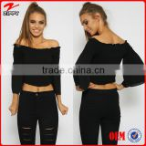 2016 women's wholesale apparel custom off shoulder black crop tops