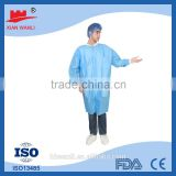 Cheap Blue SMS medical surgical Disposable Lab Coat with Knitted Cuff and Collar