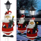 Christmas ornaments metal santa solar lantern led garden light
