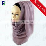 Yiwu wholesale plain solid color chiffon hijab for muslim women