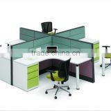 2012 new style 4 seats OEM T8# steel frame screen Office Partition office workstation with steel fixed 3-drawer pedestals