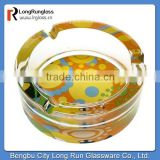 LongRun wholesale glassware uniqur design yellow round glass ashtray for crystal color decoration