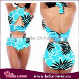 YH7089 New arrival sexy bikini sets plus size bikini high waist print sky blue black in stock M L XL summer swimwear