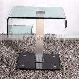 fashion hot-bending glass Coffee table with aluminium tube