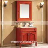 WTS-822TLO 32-Inch Marble Stone Top Single Sink Bathroom Vanity with red Oak Finish Cabinet