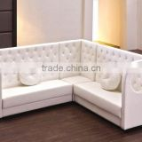 Modern restaurant Button Tufted leather booths corner sofa bench seat