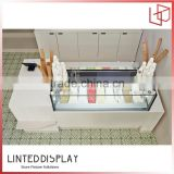 MDF base floor standing glass bread display cabinet for bakery