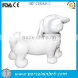 Love Cute Dog Figurine Unpainted Ceramic Bisque Home Decor
