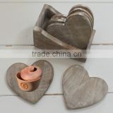 Antique high quality heart shaped wooden drink coasters
