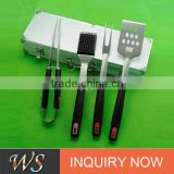 fork food tong spatula and basting brush 4pcs bbq tool set with plastic handle and aluminum box packing