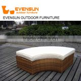 Fashionable rattan wicker sun lounger round sunbed with adjustable canopy